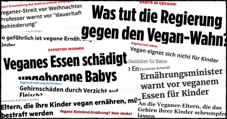 Schlagzeilen diffamierender Artikel über vegane Kinderernährung